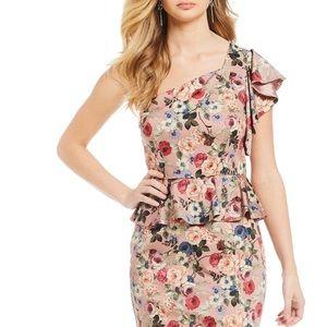 Gianni Bini Danielle floral one shoulder dress